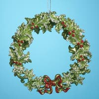 Club Pack of 24 Christmas Brites Green Holly Wreath Holiday Ornaments 5""
