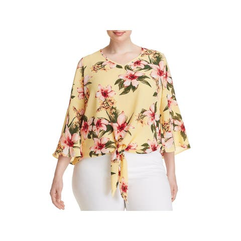 Status by Chenault Womens Plus Pullover Top Crepe Floral Print