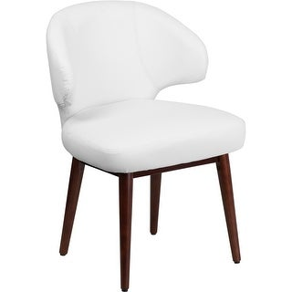 Silkeborg Curved Back White Leather Side Reception/Guest Chair w/Walnut Legs