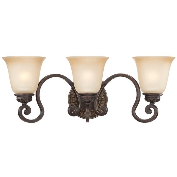 Jeremiah Lighting 28203 Josephine 3 Light Bathroom Vanity Light - 24.25 Inches Wide - aged bronze with gold