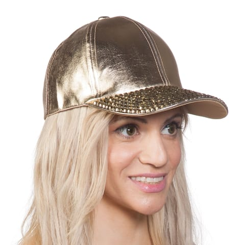 Womens Metallic Baseball Cap w/ Sequined Bill