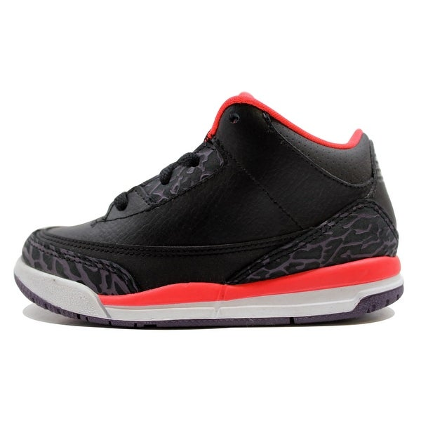 detailed look 28a0f 8a551 Nike Toddler Air Jordan III 3 Retro Black Bright Crimson-Canyon Purple-Pure.  Click to Zoom