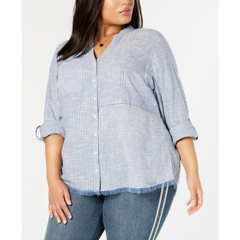 Style & Co Women's Cotton Striped Fringe-Trimmed Shirt Size Small