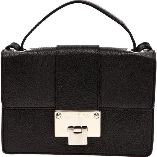 Jimmy Choo Black Grainy Calf Leather Cross Body Bag Silver Hardware OGRC 028. Opens flyout.