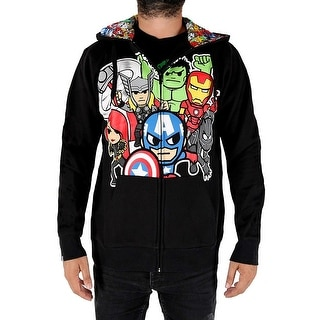 Tokidoki Marvel Comics Avengers Men's Black Hoodie Hulk Iron Man Captain America
