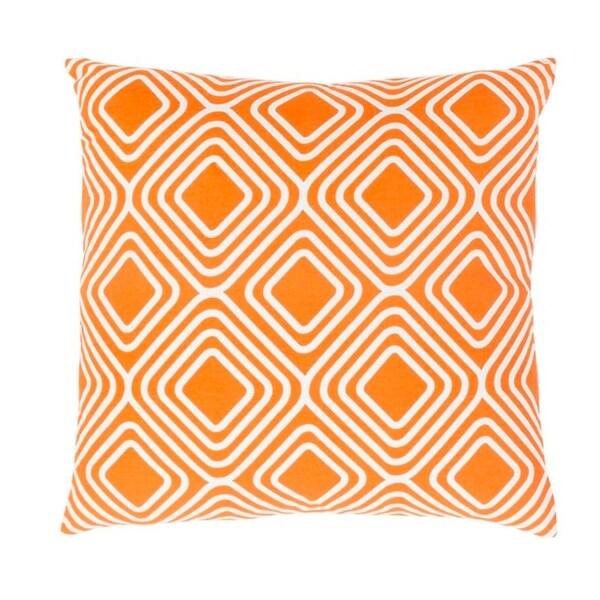 """20"""" Pumpkin Orange and Snowflake White Woven Decorative Throw Pillow – Down Filler"""