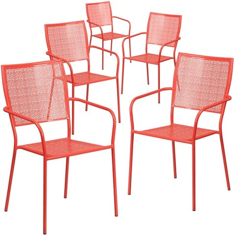 5 Pack Indoor-Outdoor Steel Patio Arm Chair with Square Back