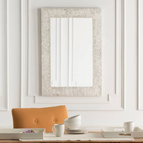 """Colyton White Mother of Pearl Inlaid Rectangular Wall Mirror - 28"""" x 40"""" - 28"""" x 40"""""""