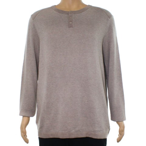 Alfani Heather Beige Mens Size 2XL Two Tone Henley Knitted Sweater