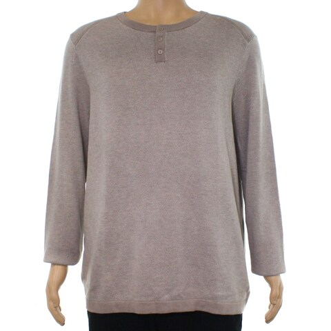 Alfani Heather Mens Two Tone Henley Knitted Sweater