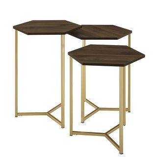 Delacora WE-BDF16HEX3  Hex Three Piece Wood Top Laminate and Metal Accent Table