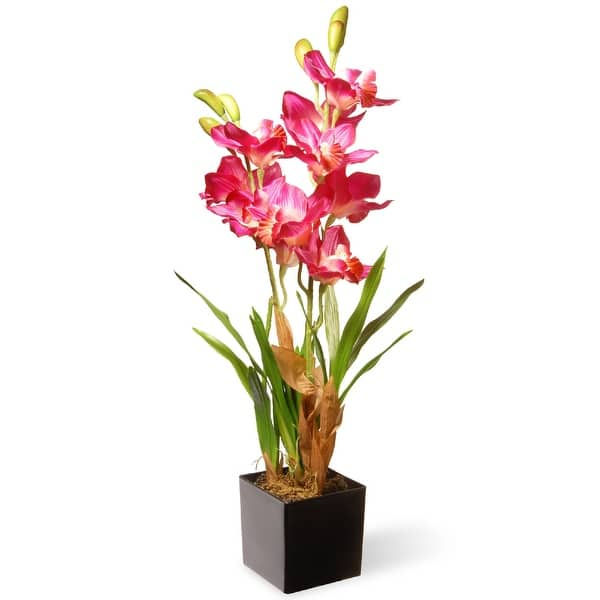 Shop 25 Potted Artificial Pink Orchid Flowers With A Brown Square