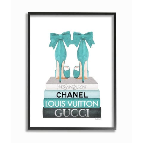 Stupell Industries Turquoise Bow Heels on Books Women's Fashion Framed Wall Art - Blue