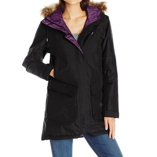 Helly Hansen NEW Black Coastline Faux-Fur Large L Parka Hooded Jacket