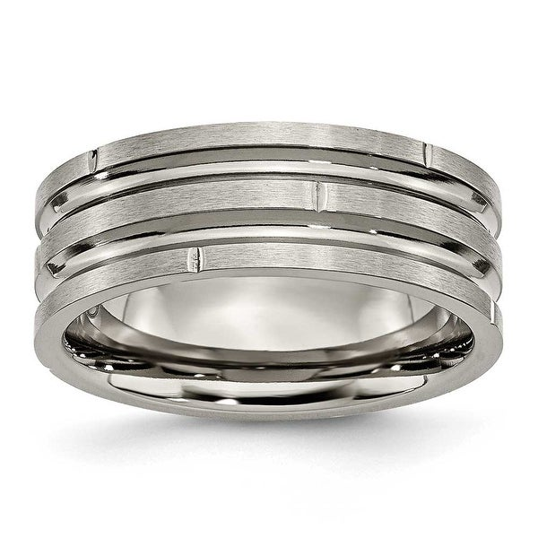Titanium Notched & Grooved 8mm Satin Band
