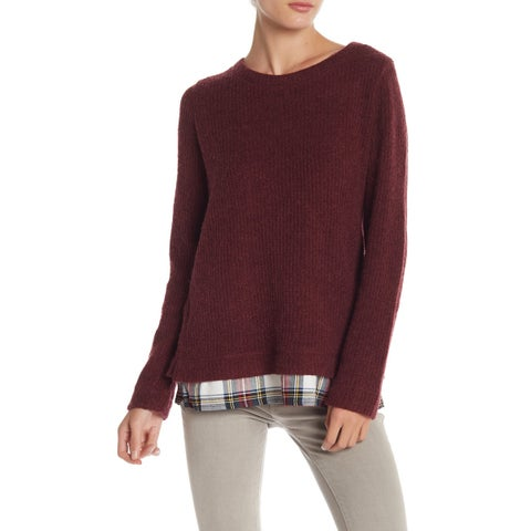 Sanctuary Red Women's Size XL Tunic Plaid High Low Wool Sweater