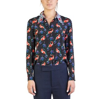 Miu Miu Women's Silk Long Sleeve Floral Print Blouse Two Tone