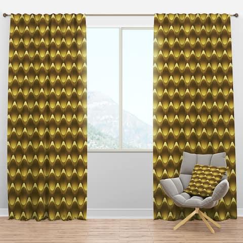 Designart 'Gold Metal Circles 3D Pattern' Glam Blackout Curtain Panel