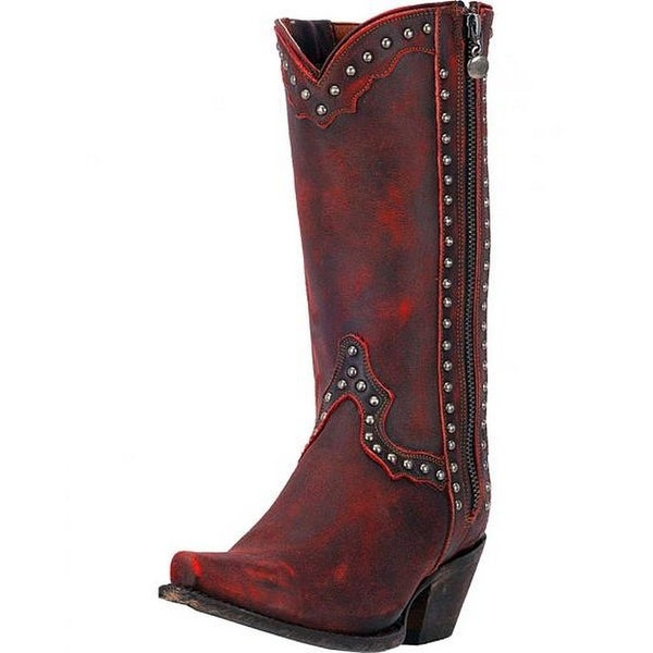 "Dan Post Western Boots Womens 11"" Leather Studded Snip Red"