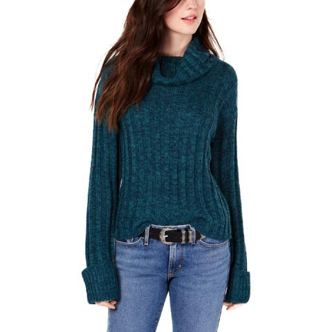 Hooked Up by IOT Womens Juniors Turtleneck Sweater Marled Knit