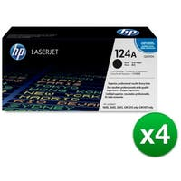 HP 124A Black Original LaserJet Toner Cartridge (Q6000A)(4-Pack)