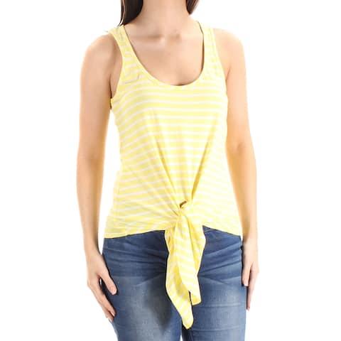 ddb6add1b1b884 MAISON JULES Womens Yellow Tie Striped Sleeveless Scoop Neck Top Size: XL