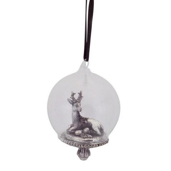 "4.25"" Scenic Reindeer Inside Snow Globe Christmas Ornament - silver"