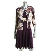 Jessica Howard Womens Petites Dress With Jacket Matte Jersey Ruched