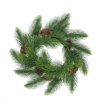 "44"" Long Needle Pine Artificial Christmas Wreath with Pine Cones - Unlit"