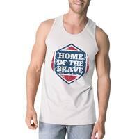 Home Of The Brave White Cotton Unique Graphic Tank Top For Men
