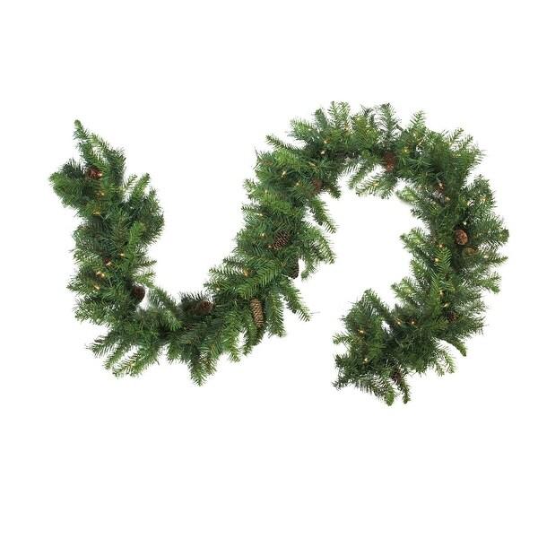 """9' x 14"""" Pre-Lit Dakota Red Pine Artificial Christmas Garland - Clear Dura Lights - green"""