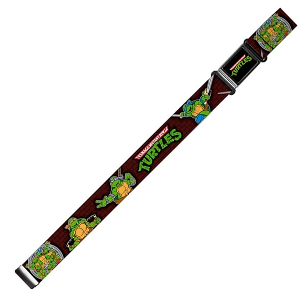 Classic Tmnt Logo Full Color Classic Tmnt Battle Poses Group Pose7 Magnetic Web Belt - S