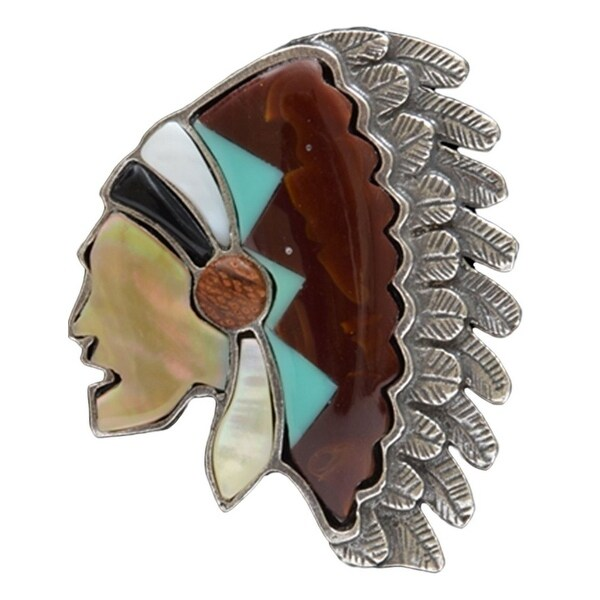 LoulaBelle Jewelry Women Ring Indian Chief Stone One Size Silver LR08A