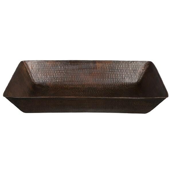 "Premier Copper Products VREC2014DB 20"" Rectangular Hammered Copper Vessel Lavatory Sink - Oil Rubbed Bronze"