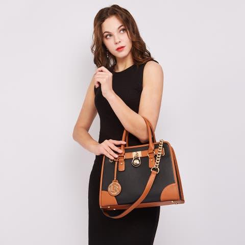 Dasein Women Handbags Top Handle Satchel Purse Shoulder Bag Wallet Set 2pcs