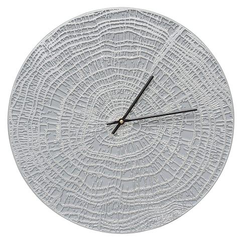 "Whitehall 16"" Indoor/Outdoor End Grain Aluminum Wall Clock (Grey/Silver) - Grey"