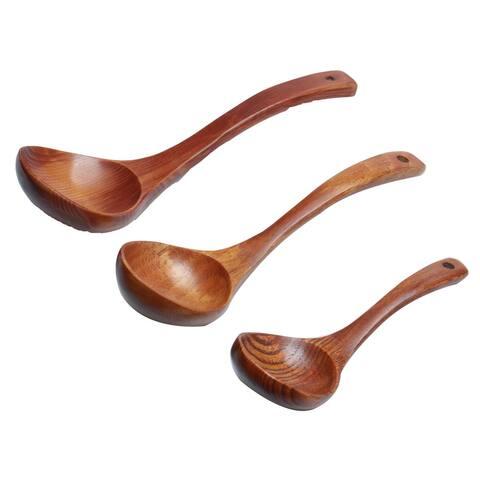 3pcs Home Wooden Spoon Soup Ladle Spoon Kitchen Cookware - 3 Pcs