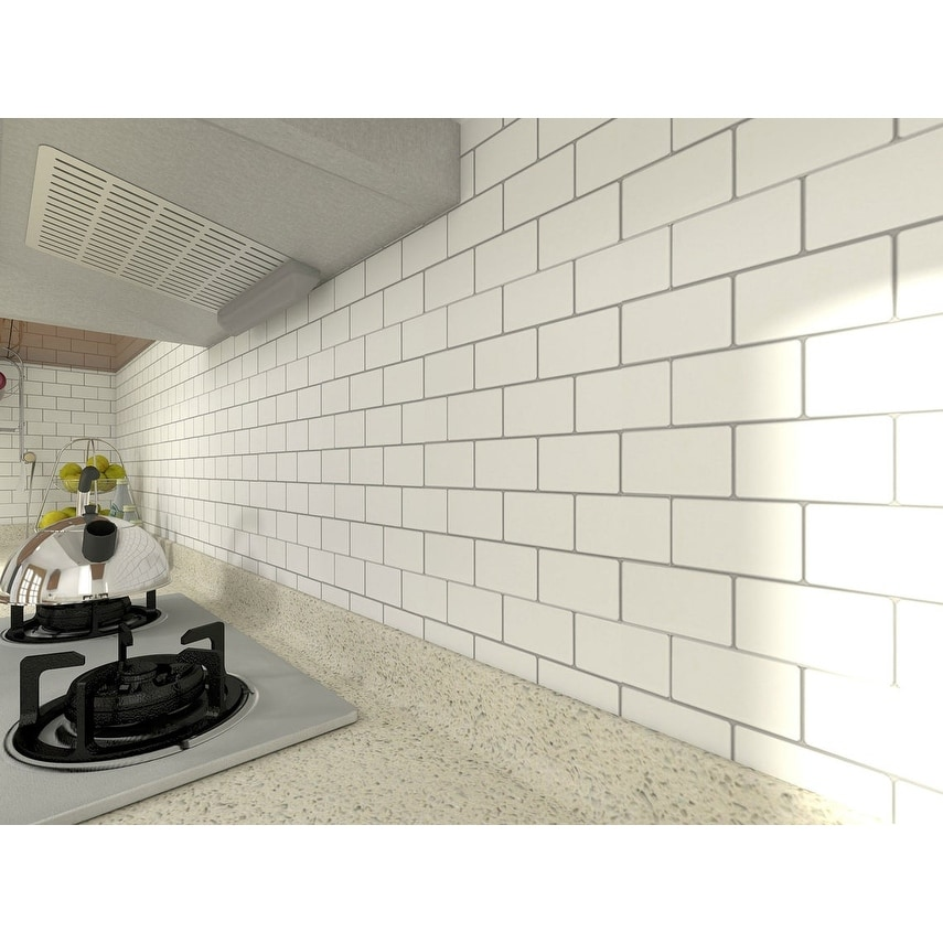 12 X12 Peel And Stick Backsplash Tile For Kitchen White Subway Tile 10 Pack Overstock 31500800