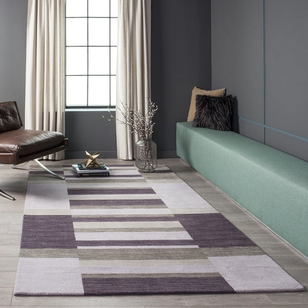 Momeni Metro Lilac Hand-Tufted Wool Rug (5' X 8') - 5' x 8'