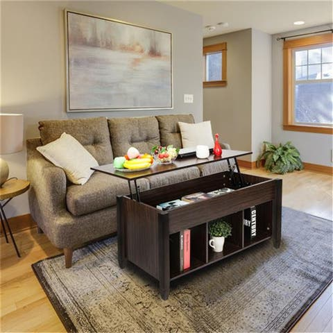 Lift Top Coffee Table Modern Furniture Hidden Compartment and Lift Tabletop Brown - 41.1 x 19.5 x 19.3-24.6 inches