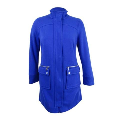 INC International Concepts Women's Collared Cocoon Coat (L, Goddess Blue) - Goddess Blue - L