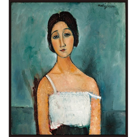 """Christina by Amedeo Modigliani Giclee Print Oil Painting Cherry Brown Frame Size 12"""" x 14"""""""