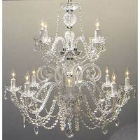 Petite French Swarovski Crystal Trimmed Chandelier Lighting H30 x W28