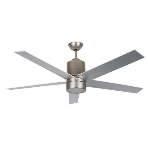 """Vento 56"""" Ceiling Fan with LED Light and Satin Nickel Finish - Satin Nickel - 56 Inches"""