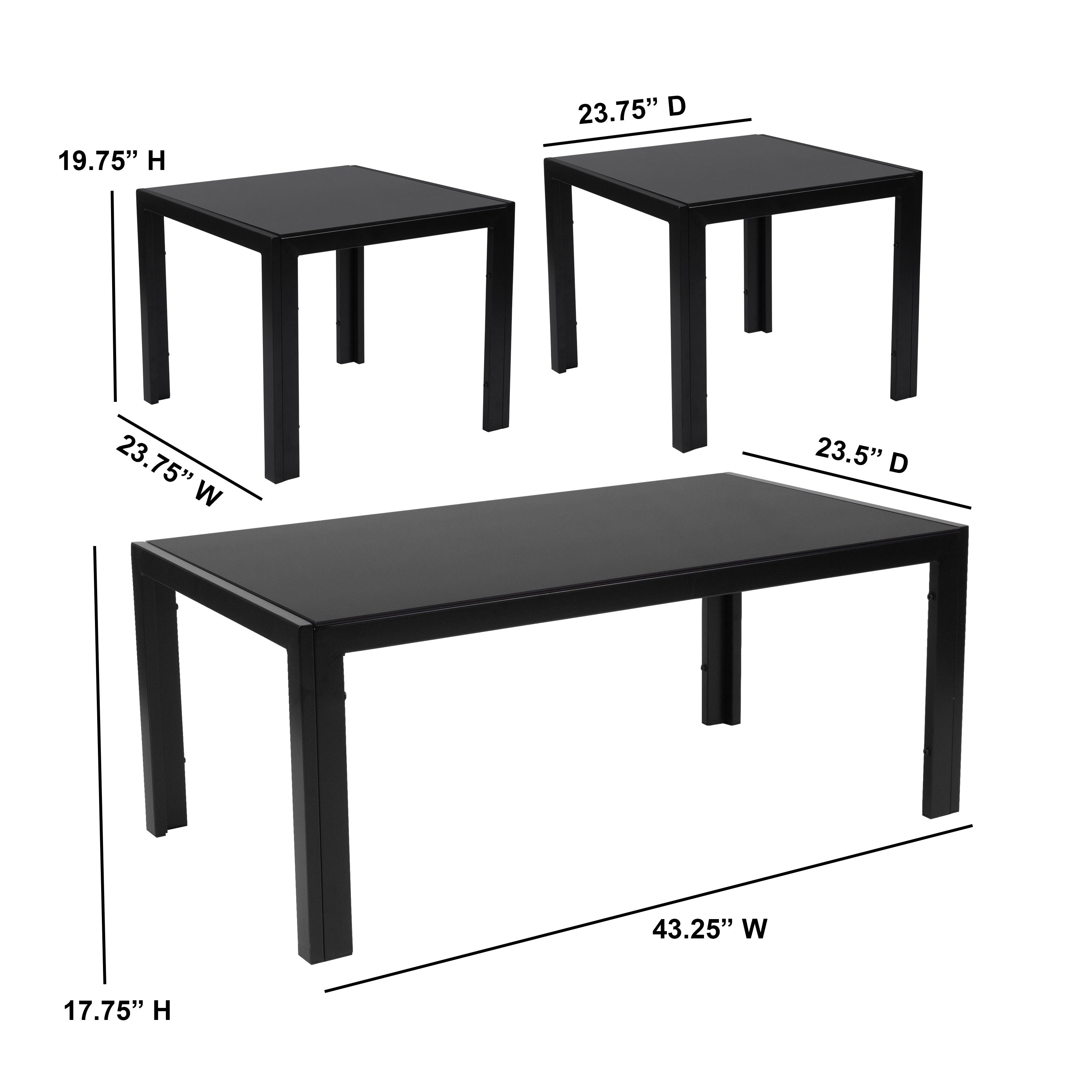 3 Piece Coffee And End Table Set With Glass Tops And Metal Legs Overstock 22576010