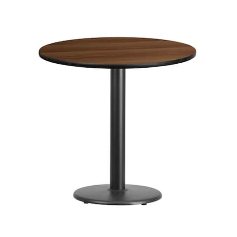 "Dyersburg 30'' Round Walnut Laminate Table Top w/30"" High Round Base"
