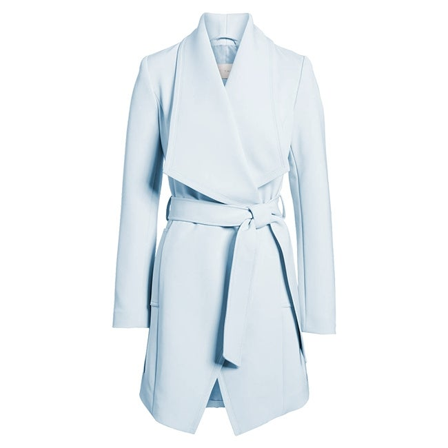 T Tahari Womens Pale Blue Abbey Wrap Trench Coat Shawl Collar Belted