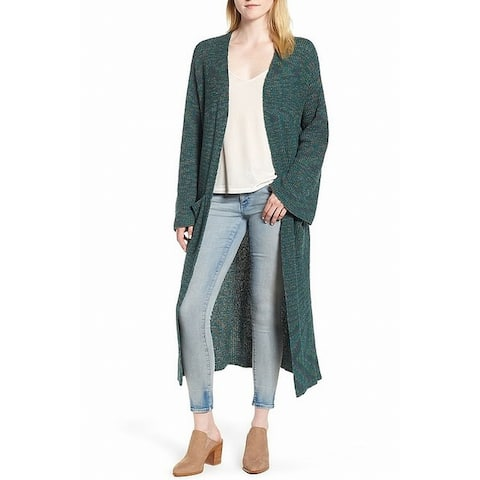 Hinge Women's Marled Knit Green Size XXS Cardigan Cotton Long Sweater