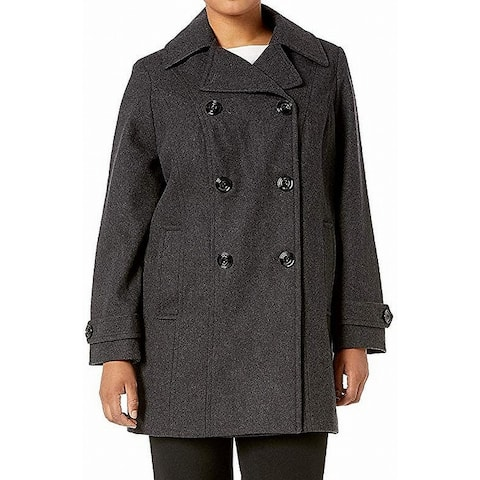 Anne Klein Womens Coat Charcol Gray Size XS Double-Breasted Notch Lapel