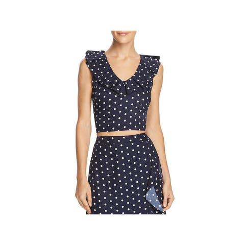 Lucy Paris Womens Crop Top Polka Dot Ruffle Sleeves - S